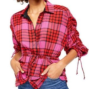 Free People ( We The Free) Plaid Blouse